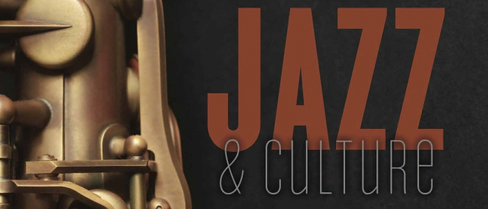 jazz and culture logo with saxophone
